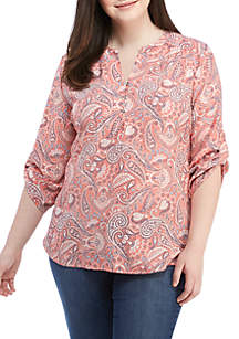 Plus Size 3/4 Roll-Tab Sleeve Woven Top