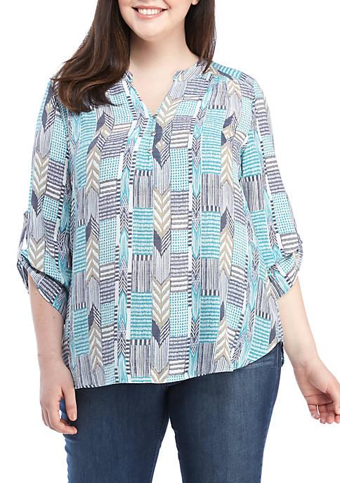 Kim Rogers® Plus Size 3/4 Sleeve Liano Top