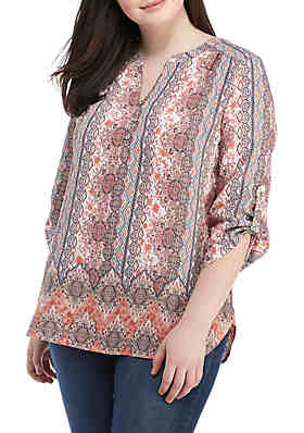 b3b9befef3be60 Kim Rogers® Plus Size 3 4 Sleeve Liano Top ...