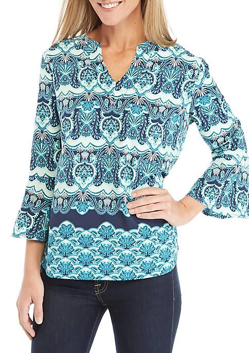 Kim Rogers® Bell Sleeve Woven Print Top