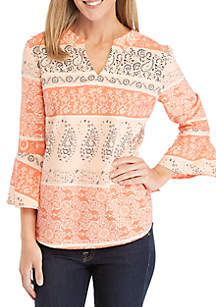 Kim Rogers® 3/4 Bell Sleeve Print Woven Top