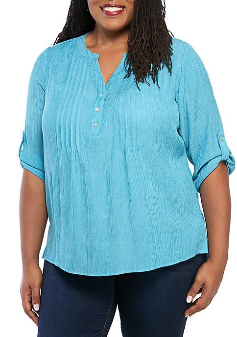 Kim Rogers® Plus Size Roll Tab Sleeve Sundance