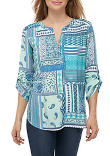 Kim Rogers® 3/4 Roll Sleeve Liano Patchwork Top