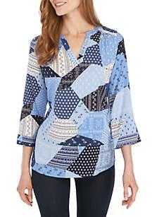 Kim Rogers® 3/4 Sleeve Patchwork Top
