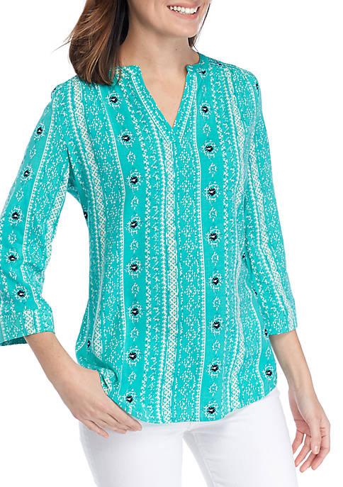 Kim Rogers® 3/4 Sleeve 2-Way Stretch Smocked Top