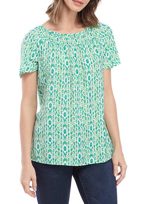 Kim Rogers® Short Sleeve Smocked Neck Liano Top