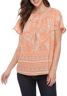 Kim Rogers® Smocked Neck Paisley Top