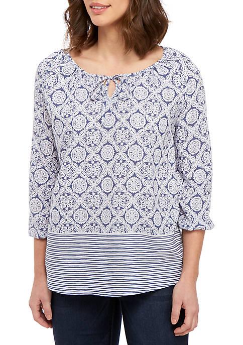 Kim Rogers® 3/4 Sleeve Peasant Print Top