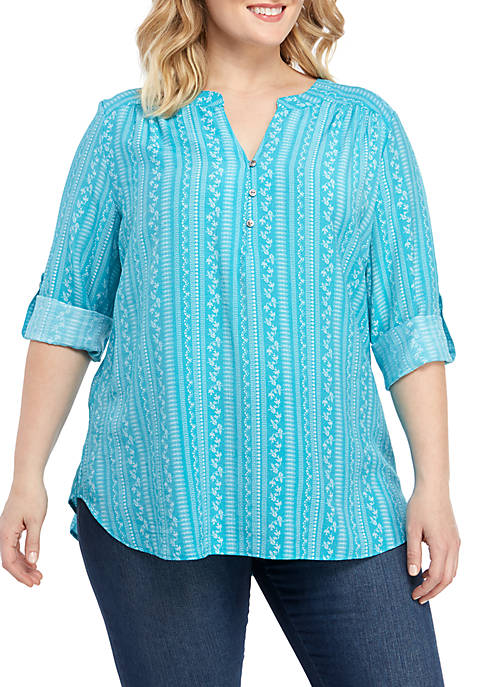 Plus Size 3/4 Sleeve Liano Top