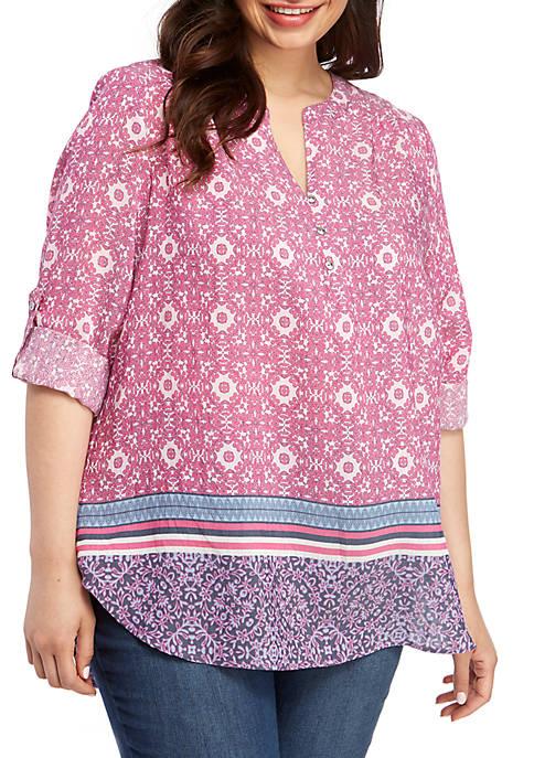 Kim Rogers® Plus Size Liano Border Print Top