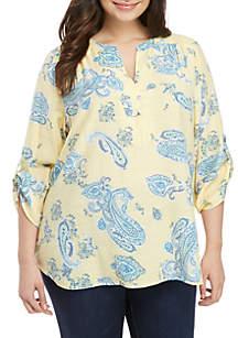 b99cde3bd8c ... Kim Rogers® Plus Size 3 4 Roll-Tab Sleeve Liano Paisley Print Top