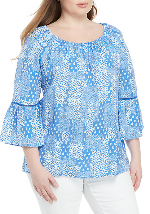 Kim Rogers® Plus Size Bell Sleeve Liano Woven