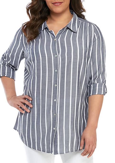 Kim Rogers® Plus Size Roll-Tab Sleeve Riviera Top