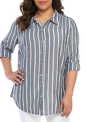560c4334a86 Kim Rogers® Plus Size Roll-Tab Sleeve Riviera Top ...