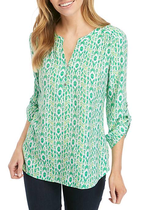 Kim Rogers® Petite 3/4 Roll Sleeve Liano Top