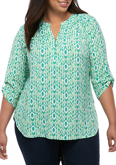 Kim Rogers® Plus Size 3/4 Roll Sleeve Liano