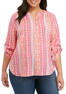 Kim Rogers® Plus Size 3/4 Roll Tab Sleeve Liano Top