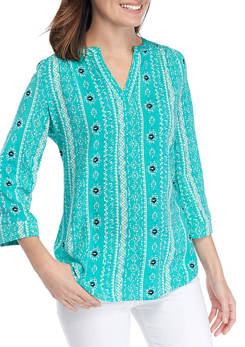 Kim Rogers® Petite 3/4 Roll Sleeve Turquoise Liano