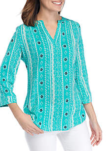Kim Rogers® Petite 3/4 Roll Sleeve Turquoise Liano Top