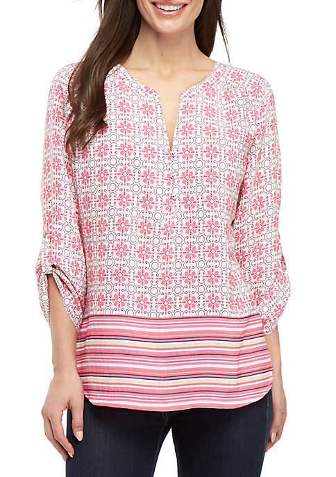 Kim Rogers® Petite Pink Party 3/4 Sleeve Top