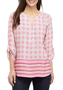 78c87703891abb ... Kim Rogers® Petite Pink Party 3/4 Sleeve Top