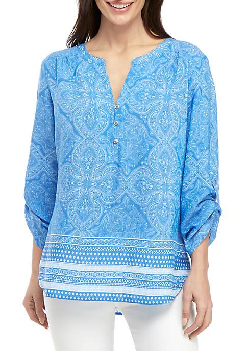 Petite Ollie Blue 3/4 Sleeve Top