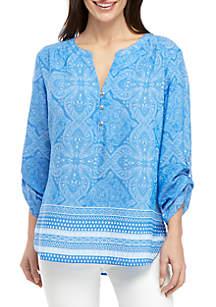 Kim Rogers® Petite Ollie Blue 3/4 Sleeve Top