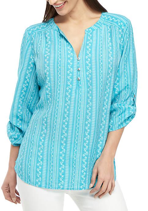 Kim Rogers® Petite 3/4 Roll-Tab Sleeve Turquoise Bliss