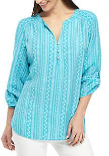 Kim Rogers® Petite 3/4 Roll-Tab Sleeve Turquoise Bliss Top