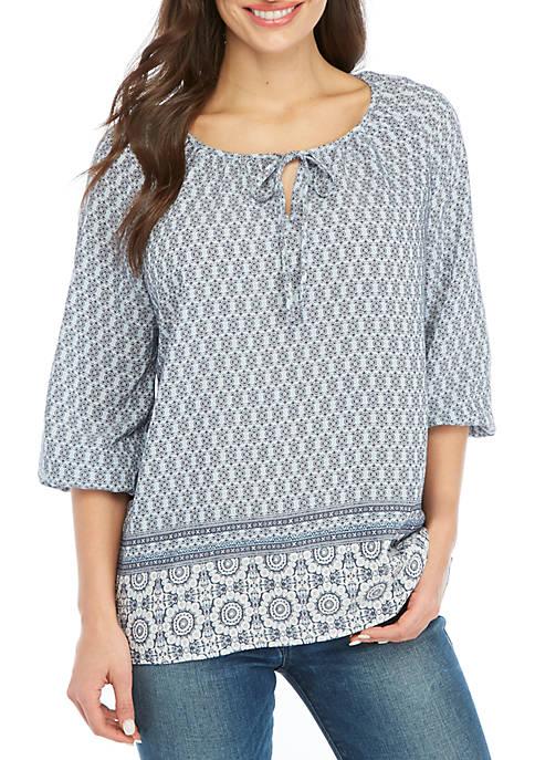 Kim Rogers® Petite 3/4 Sleeve Chambray Liano Top