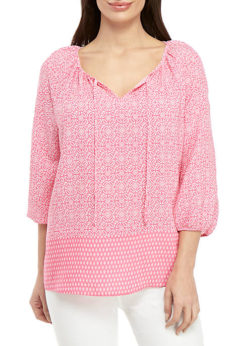 Kim Rogers® Petite 3/4 Sleeve Pink Party Peasant