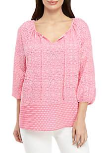 Kim Rogers® Petite 3/4 Sleeve Pink Party Peasant Top