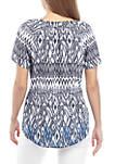 Short Sleeve Liano Ombre Ikat Print Top