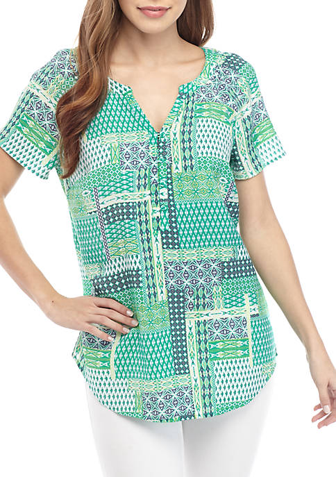 Kim Rogers® Short Sleeve Liano Patchwork Print Top