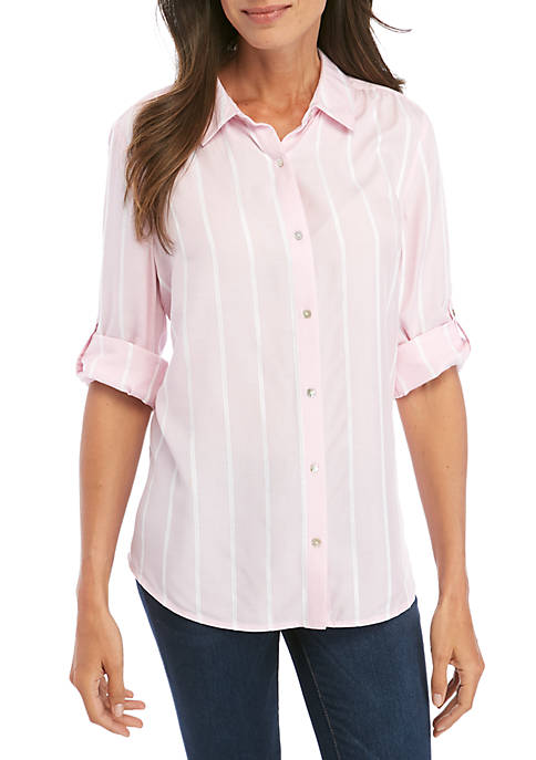 Kim Rogers® Roll Sleeve Riviera Button Front Shirt