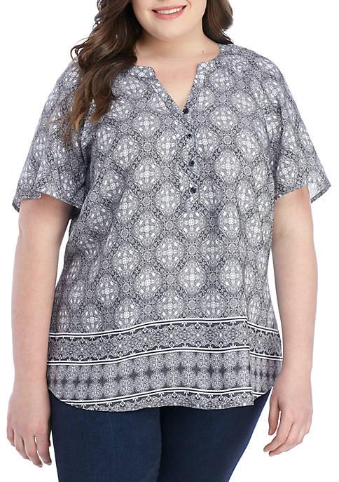 Plus Size Short Sleeve Liano Black Top