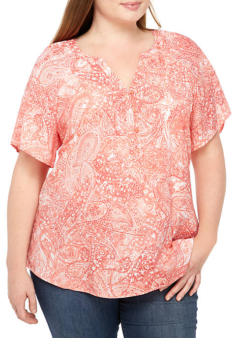 Plus Size Short Sleeve Liano Combo Top