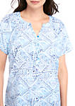 Petite Short Sleeve Liano Ollie Blue Combo Top