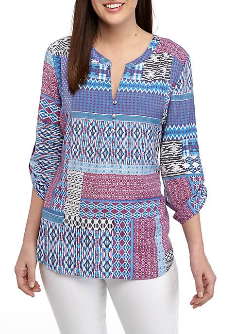 Kim Rogers® 3/4 Sleeve Patchwork Print Liano Top