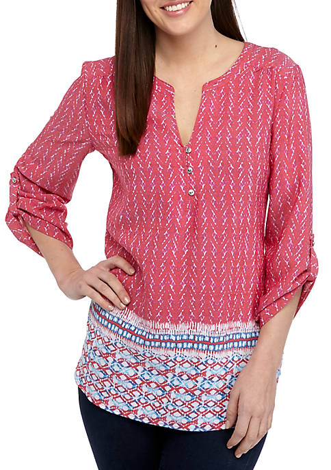 Kim Rogers® 3/4 Sleeve Red Border Print Liano