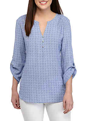 2841f673cd6 Kim Rogers® 3/4 Sleeve Ollie Blue Medallion Print Liano Top ...