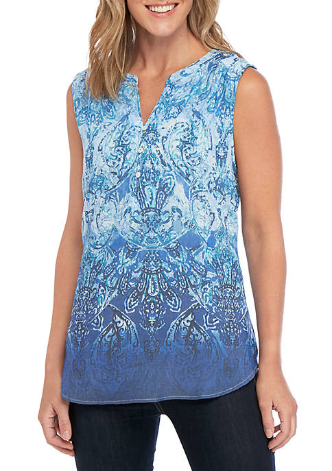 Ollie Blue Print Sleeveless Liano Top