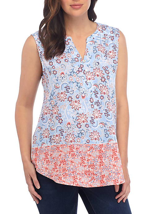 Kim Rogers® Floral Printed Sleeveless Liano Top