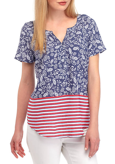 Kim Rogers® Short Sleeve Liano Border Print Top