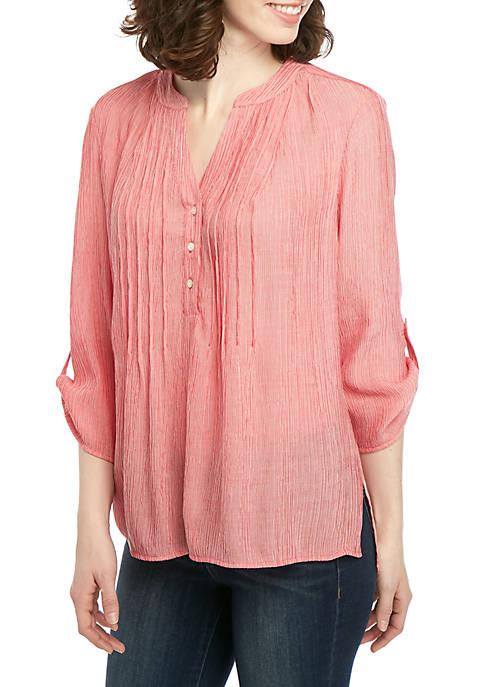 Kim Rogers® Solid Roll Sleeve Sundance Top