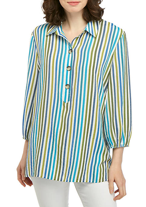 Kim Rogers® Popover Liano Top with Stripes
