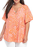 Plus Size Flutter Sleeve Printed Liano Top