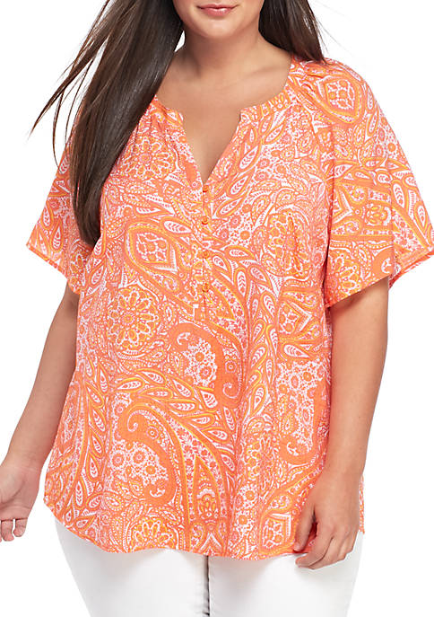 Kim Rogers® Plus Size Flutter Sleeve Printed Liano