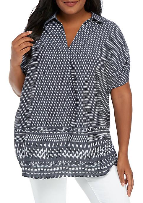 Kim Rogers® Plus Size Short Sleeve Border Print
