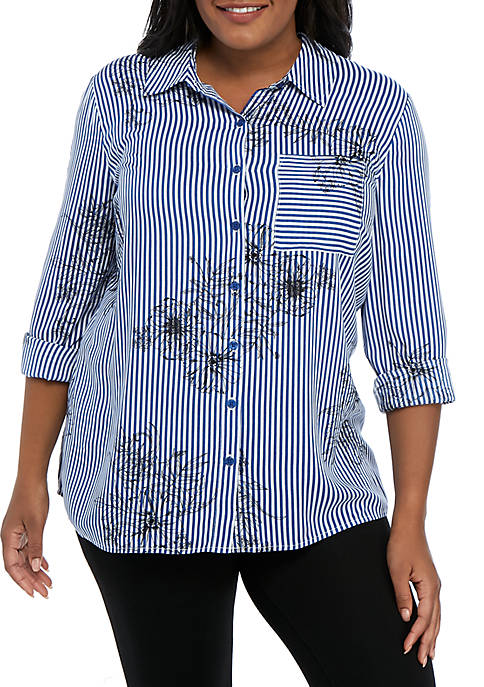 Kim Rogers® Plus Size Button Up Shirt